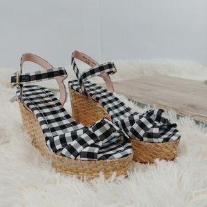 ba6714b7b5 kate spade Shoes - Kate Spade Black & White Gingham Wedge Sandal